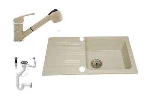Lewis & Cook M78-435B Gránit Mosogató + Shower kihúzható csap + Dugóemelő (Bézs)