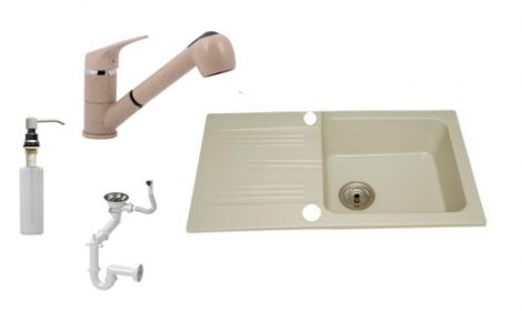 Lewis & Cook M78-435B Gránit Mosogató + Shower kihúzható csap + Adagoló (Bézs)