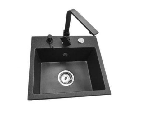NERO N452C Gránit Mosogató + Design csaptelep + Adagoló + Dugóemelő (fekete - szemcsés)