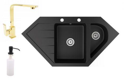 Gránit mosogató NERO Joker + Design Gold csaptelep + adagoló (matt fekete)