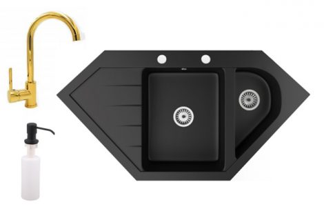 Gránit mosogató NERO Joker + magasított arany csaptelep + adagoló (matt fekete)
