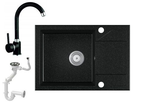 Laneo Adria 63-435C Gránit Mosogató + Csap + Szifon (fekete)