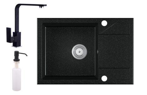 Gránit Mosogató EOS Adria + Design csaptelep + adagoló + szifon - fekete