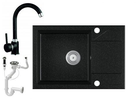 Laneo Adria 63-435C Gránit Mosogató + Csap + Dugóemelő (fekete)