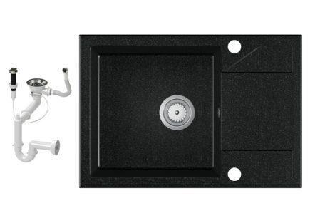 Laneo Adria 63-435C Gránit Mosogató + Dugóemelő (fekete)