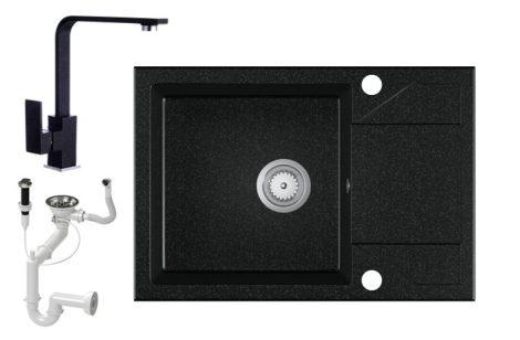 Laneo Adria 63-435C Gránit Mosogató + Deisgn Csap + Dugóemelő (fekete)