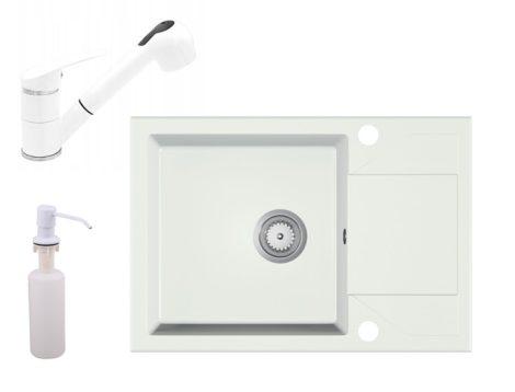 Gránit Mosogató EOS Adria + Kihúzható Shower Csap + Adagoló + Szifon (fehér)