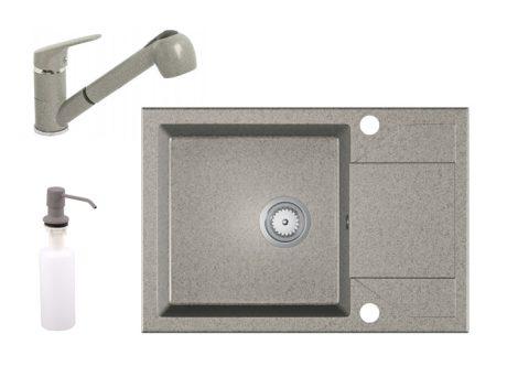 Gránit Mosogató EOS Adria + Kihúzható Shower Csaptelep + Adagoló + Szifon (szürke)