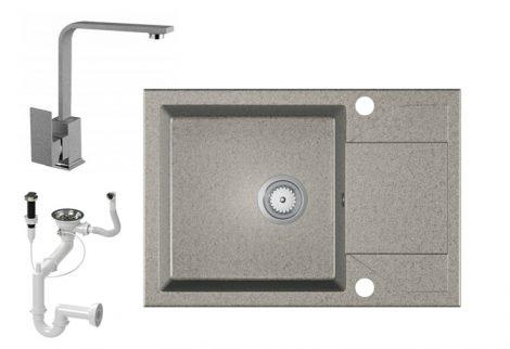 Laneo Adria 63-435S Gránit Mosogató + Design Csap + Dugóemelő (szürke)