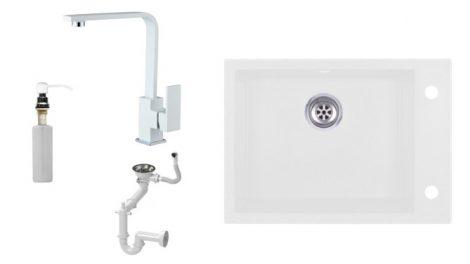 Evinion K615-45BI Gránit Mosogató + Design Csap + Szifon + Pumpa (Fehér)