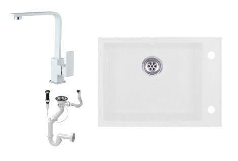 Evinion K615-45BI Gránit Mosogató + Design Csap + Dugóemelő (fehér)