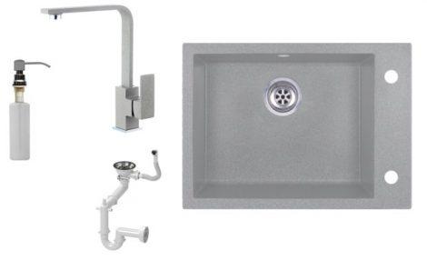 Evinion K615-45S Gránit Mosogató + Design Csap + Szifon + Pumpa (szürke)