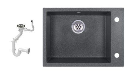 Evinion K615-45G Gránit Mosogató + Szifon készlet (Grafit)