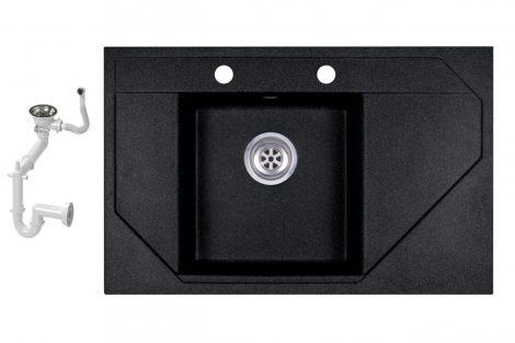 Evinion Orion O765-49C Fekete Gránit Mosogató + Szifon készlet (fekete)