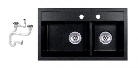 Evinion Double I74-44C Fekete Gránit Mosogató + Szifon készlet (fekete)