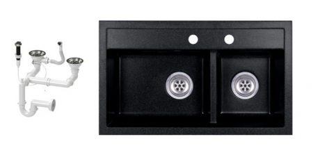 Evinion Double I74-44C Fekete Gránit Mosogató + Dugóemelő (fekete)