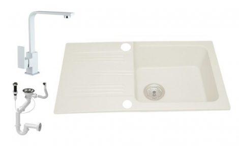 Lewis & Cook M78-435BI Gránit Mosogató + Design csap + Dugóemelő (Fehér)