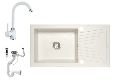 NERO EOS 90-49BI Gránit Mosogató + Csaptelep + Dugóemelő (fehér)
