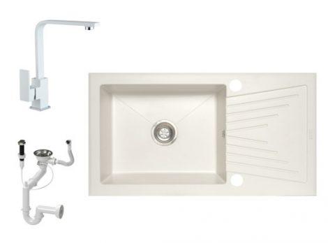 NERO EOS 90-49BI Gránit Mosogató + Design csaptelep + Dugóemelő (fehér)