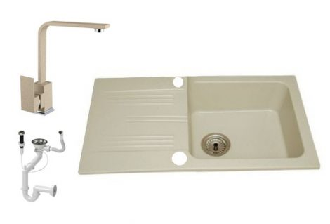 Lewis & Cook M78-435B Gránit Mosogató + Design csap + Dugóemelő (Bézs)