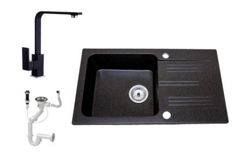 Lewis & Cook M78-435C Gránit Mosogató + Design csap + Dugóemelő (Fekete)