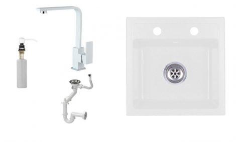 Laneo T44-44BI Gránit Mosogató + Design Csap + Szifon + Adagoló (fehér)