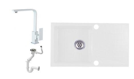 Evinion E775-435Bi Gránit Mosogató + Design Csap + Szifon (fehér)