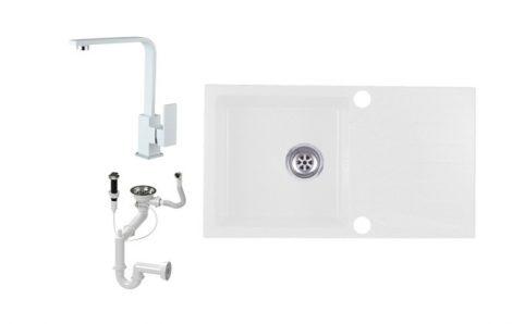 Evinion E775-435Bi Gránit Mosogató + Design Csap + Dugóemelő (fehér)