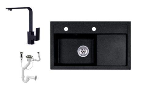 Laneo L725-43C Gránit Mosogató + Design Csap + Dugóemelő (fekete)