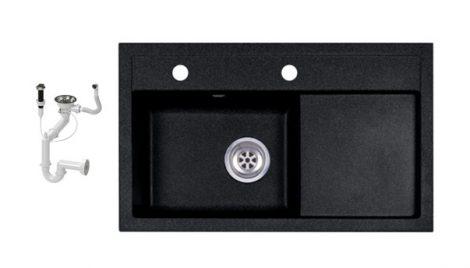 Laneo L725-43C Gránit Mosogató + Dugóemelő (fekete)