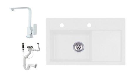 Laneo L725-43BI Gránit Mosogató + Design Csap + Dugóemelő (fehér)