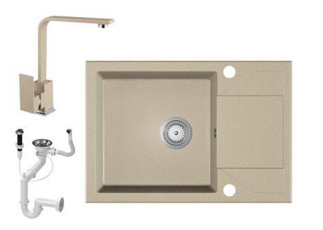 Gránit Mosogató EOS Adria + Design Csap + Dugóemelő (bézs)