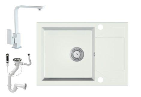Gránit Mosogató EOS Adria + Design Csap + Dugóemelő (fehér)
