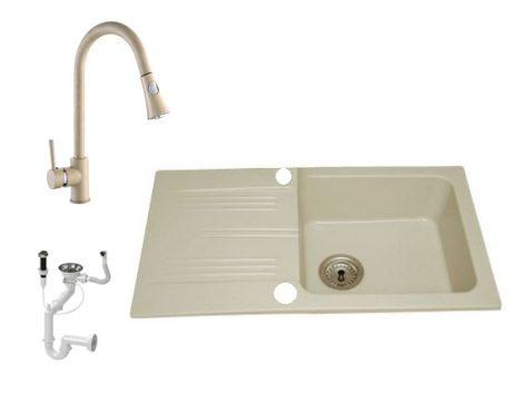 Lewis & Cook M78-435B Gránit Mosogató + Zuhanyfejes kihúzható csap + Dugóemelő (Bézs)