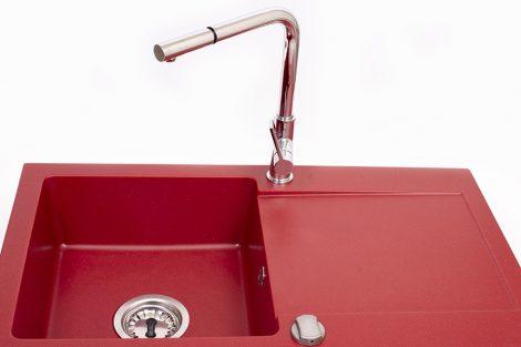 NERO LL75-34P Gránit mosogató + Kihúzható csaptelep + Dugóemelő (Piros)