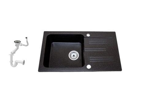 Lewis & Cook M78-435C Gránit Mosogató + Szifon (Fekete - szemcsés)
