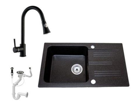 Lewis & Cook M78-435C Gránit Mosogató + Zuhanyfejes kihúzható csap + Dugóemelő (Fekete)