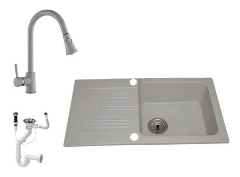 Lewis & Cook M78-435S Gránit Mosogató + Zuhanyfejes kihúzható csap + Dugóemelő (Szürke)