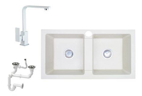 NERO D820BI Gránit Mosogató + Design csaptelep + Szifon Készlet (fehér)