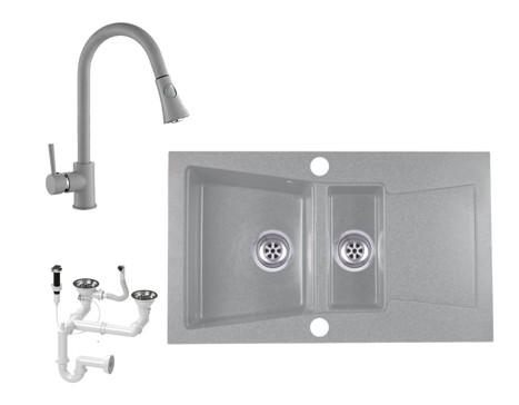 Laneo Locarno L87-515S Gránit Mosogató + Zuhanyfejes csap + Dugóemelő (szürke)