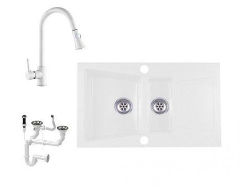 Laneo Locarno L87-515BI Gránit Mosogató + Zuhanyfejes csap + Dugóemelő (fehér)