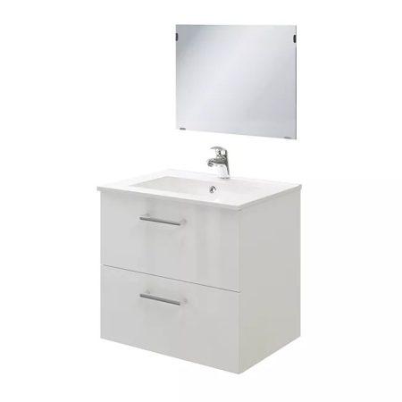 Belluno fürdőszobai mosdó + szekrény + tükör + szifon - 60 cm (fényes fehér)