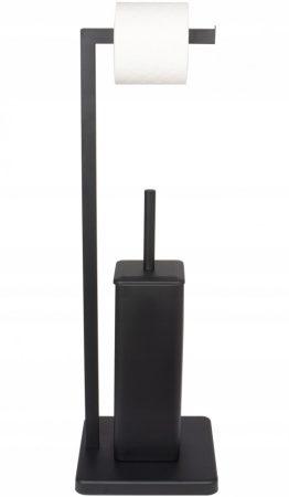 YOKA Home 2in1 wc kefe állvány wc papír tartóval (szögletes) - fekete