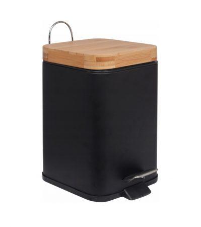 YOKA Home fürdőszobai szemetes bambuszfa fedő - fekete