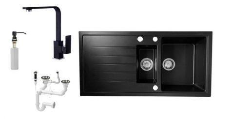 Solarys J995-50C Gránit Mosogató + Design Csap + Dugóemelő + Adagoló (fekete)