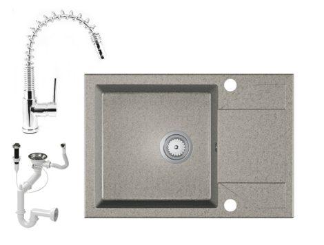 Gránit Mosogató EOS Adria + Kihúzható Spring-Jet Csaptelep + Dugóemelő + Szifon (szürke)
