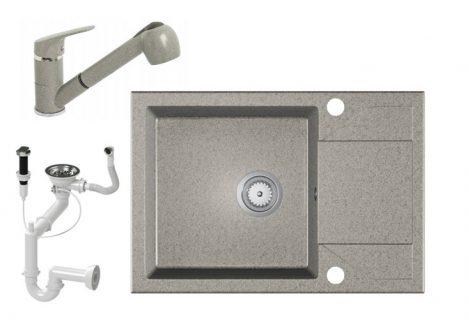 Gránit Mosogató EOS Adria + Kihúzható Shower Csaptelep + Dugóemelő + Szifon (szürke)