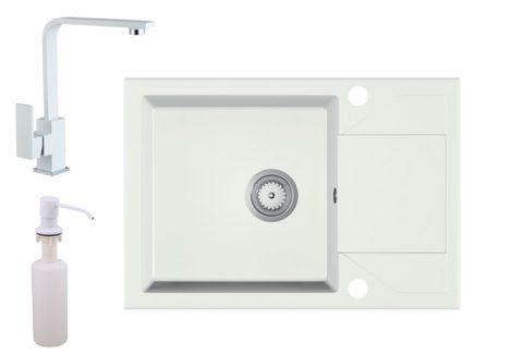 Gránit Mosogató EOS Adria + Design Csap + Szifon + Adagoló (fehér)