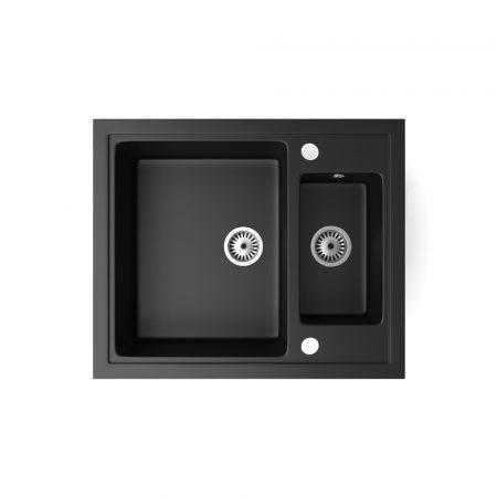 Gránit mosogató NERO Arriva + szifon készlet (matt fekete)