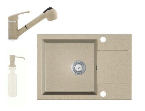 Gránit Mosogató EOS Adria + Kihúzható Shower Csaptelep + Adagoló (bézs)